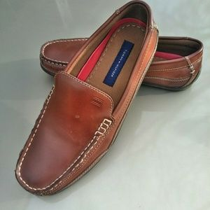 Tommy Hilfiger Mens Brown Leather Loafers Sz: 7.5